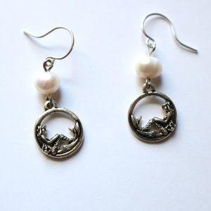 Mermaids and their Pearls Silver Earrings